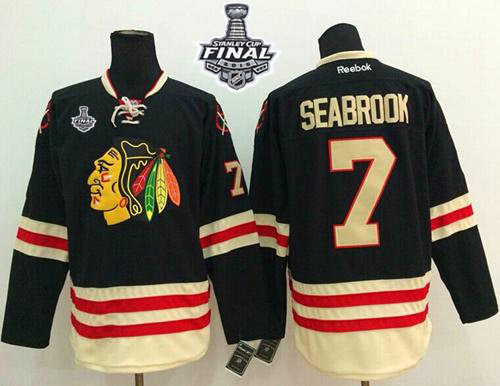 Blackhawks #7 Brent Seabrook Black 2015 Winter Classic 2015 Stanley Cup Stitched NHL Jersey