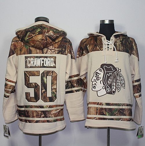 Blackhawks #50 Corey Crawford Cream/Camo Stitched NHL Jersey