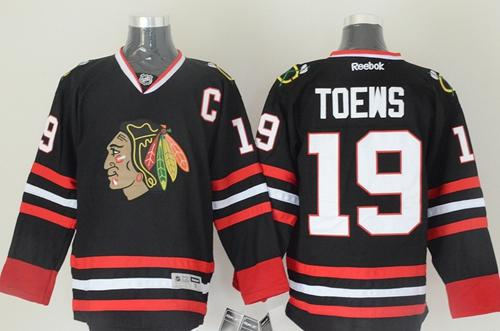 Blackhawks #19 Jonathan Toews Black Stitched NHL Jersey
