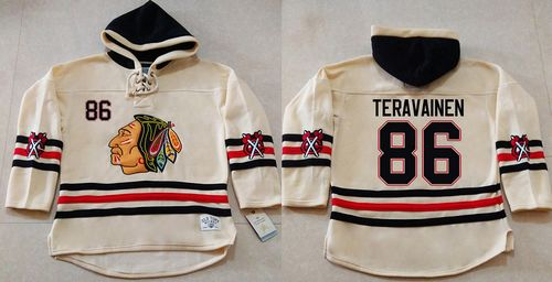 Blackhawks #86 Teuvo Teravainen Cream Heavyweight Pullover Hoodie Stitched NHL Jersey