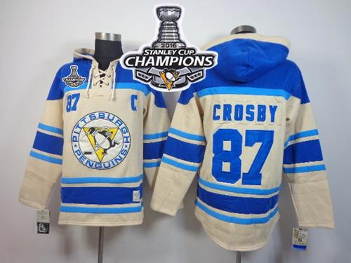 Penguins #87 Sidney Crosby Cream Sawyer Hooded Sweatshirt 2016 Stanley Cup Champions Stitched NHL Jersey