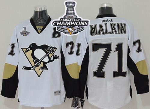 Penguins #71 Evgeni Malkin White 2016 Stanley Cup Champions Stitched NHL Jersey