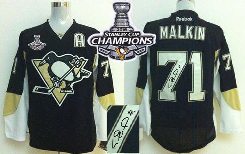 Penguins #71 Evgeni Malkin Black Autographed 2016 Stanley Cup Champions Stitched NHL Jersey