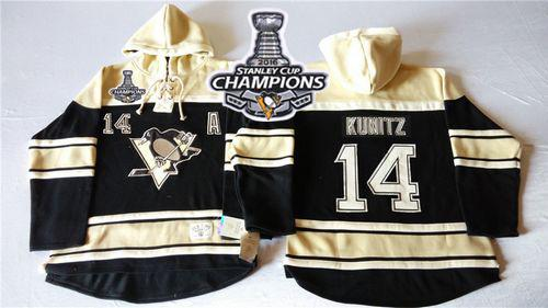 Penguins #14 Chris Kunitz Black Sawyer Hooded Sweatshirt 2016 Stanley Cup Champions Stitched NHL Jersey