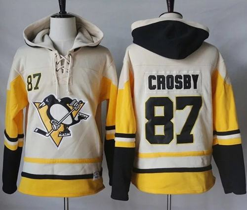 Penguins #87 Sidney Crosby Cream/Gold Sawyer Hooded Sweatshirt Stitched NHL Jersey