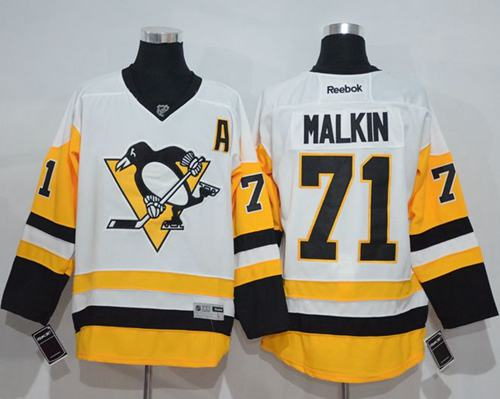 Penguins #71 Evgeni Malkin White New Away Stitched NHL Jersey