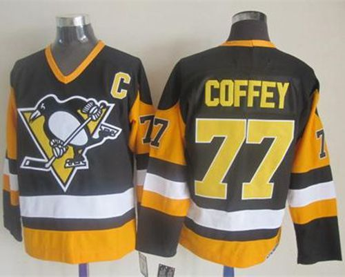 Penguins #77 Paul Coffey Black CCM Throwback Stitched NHL Jersey