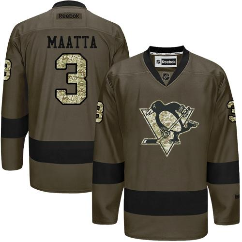 Penguins #3 Olli Maatta Green Salute to Service Stitched NHL Jersey