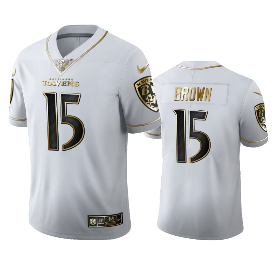 Baltimore Ravens #15 Marquise Brown Men's Nike White Golden Edition Vapor Limited NFL 100 Jersey