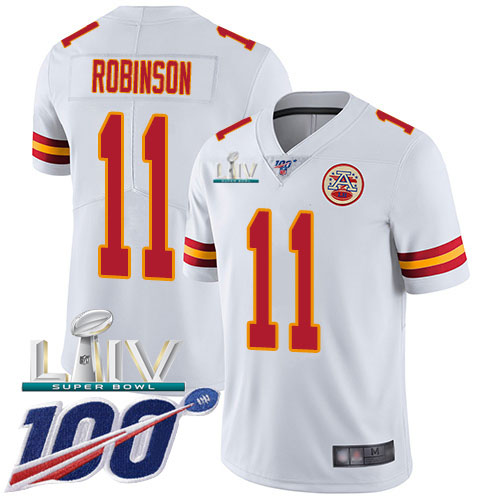 Nike Chiefs #11 Demarcus Robinson White Super Bowl LIV 2020 Men's Stitched NFL 100th Season Vapor Untouchable Limited Jersey