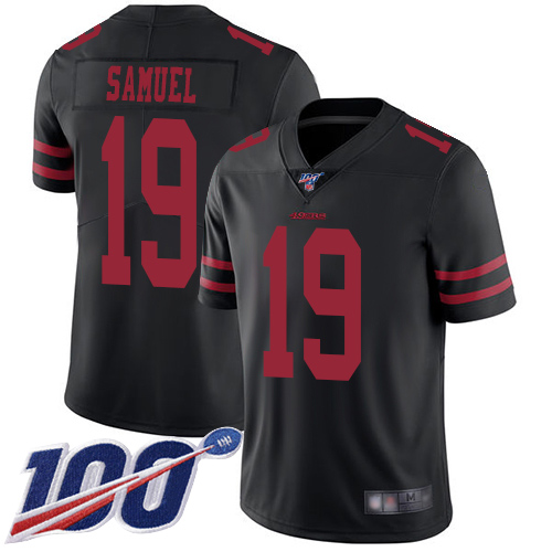 Nike 49ers #19 Deebo Samuel Black Alternate Men's Stitched NFL 100th Season Vapor Limited Jersey