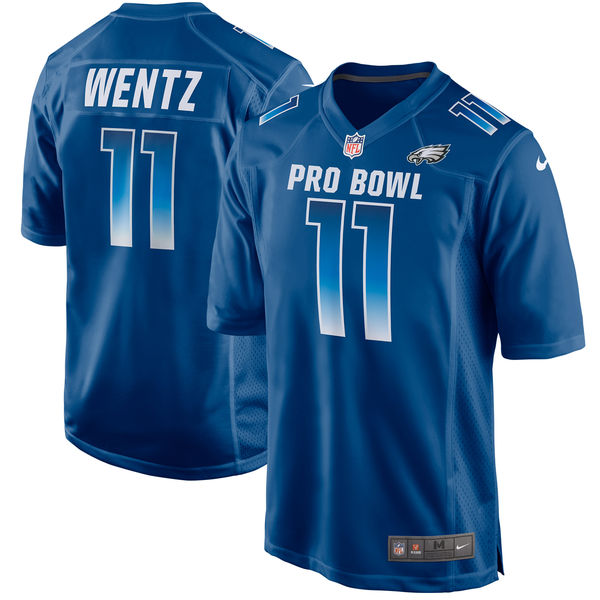 Men's NFC Carson Wentz Royal 2018 Pro Bowl Game Jersey