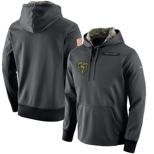Men's Chicago Bears Nike Anthracite Salute to Service Player Performance Hoodie