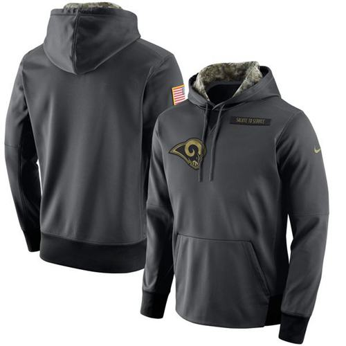 Men's Los Angeles Rams Nike Anthracite Salute to Service Player Performance Hoodie