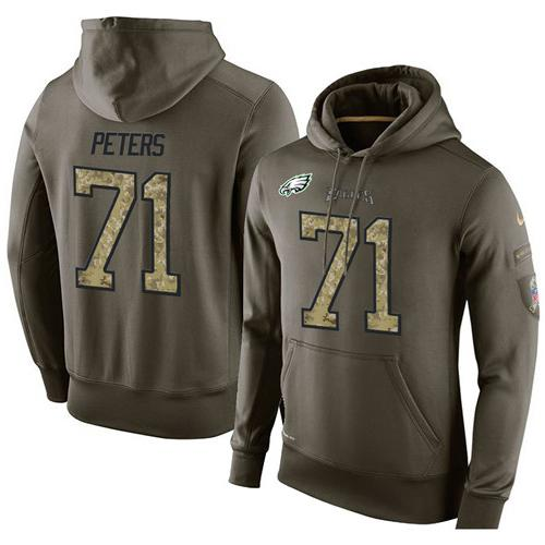 NFL Men's Nike Philadelphia Eagles #71 Jason Peters Stitched Green Olive Salute To Service KO Performance Hoodie