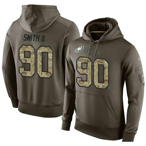 NFL Men's Nike Philadelphia Eagles #90 Marcus Smith II Stitched Green Olive Salute To Service KO Performance Hoodie
