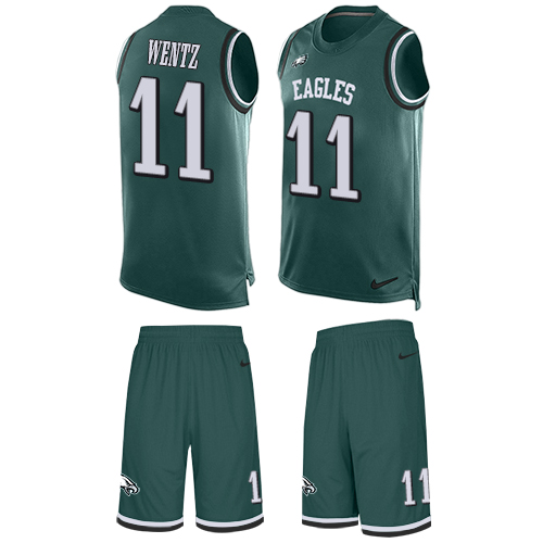 Nike Eagles #11 Carson Wentz Midnight Green Team Color Men's Stitched NFL Limited Tank Top Suit Jersey