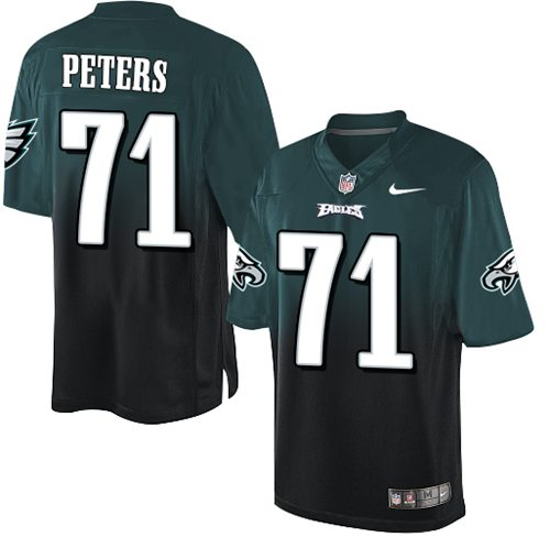 Nike Eagles #71 Jason Peters Midnight Green/Black Men's Stitched NFL Elite Fadeaway Fashion Jersey