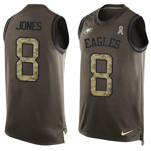 Nike Eagles #8 Donnie Jones Green Men's Stitched NFL Limited Salute To Service Tank Top Jersey