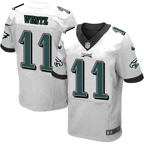Nike Eagles #11 Carson Wentz White Men's Stitched NFL New Elite Jersey