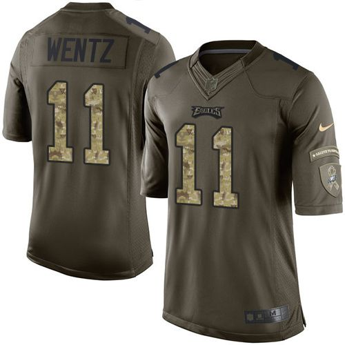 Nike Eagles #11 Carson Wentz Green Men's Stitched NFL Limited Salute to Service Jersey