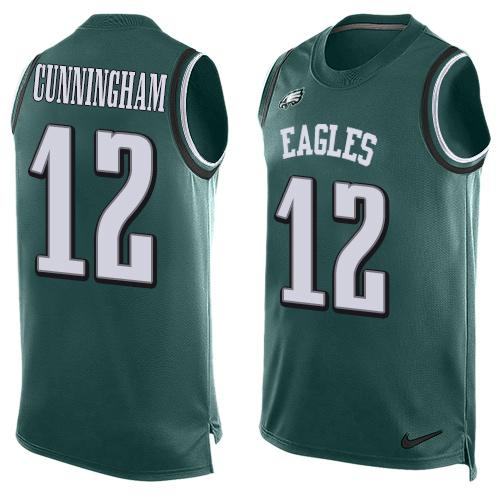 Nike Eagles #12 Randall Cunningham Midnight Green Team Color Men's Stitched NFL Limited Tank Top Jersey