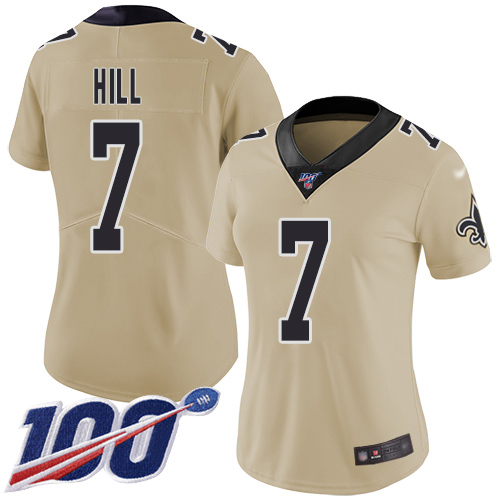 Nike Saints #7 Taysom Hill Gold Women's Stitched NFL Limited Inv
