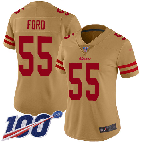 Nike 49ers #55 Dee Ford Gold Women's Stitched NFL Limited Inverted Legend 100th Season Jersey