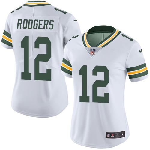 Nike Packers #12 Aaron Rodgers White Women's Stitched NFL Limited Rush Jersey