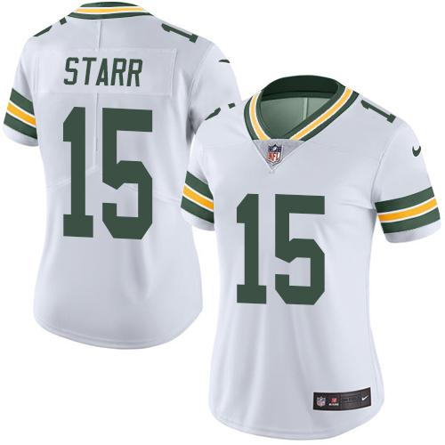 Nike Packers #15 Bart Starr White Women's Stitched NFL Limited Rush Jersey