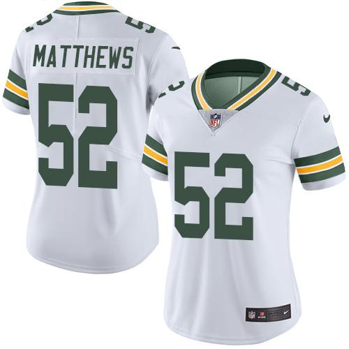 Nike Packers #52 Clay Matthews White Women's Stitched NFL Limited Rush Jersey