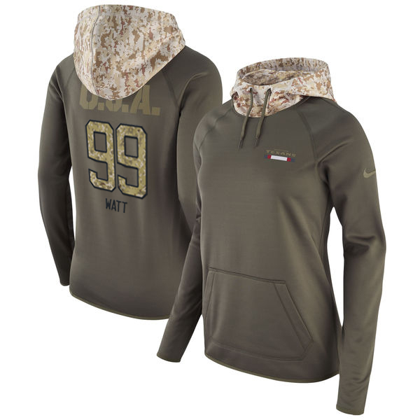 12dcae0e5 Women s Houston Texans  99 JJ Watt Olive Salute to Service Sideline Therma  Pullover Hoodie