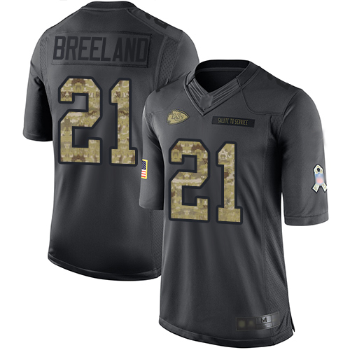 Nike Chiefs #21 Bashaud Breeland Black Youth Stitched NFL Limited 2016 Salute to Service Jersey