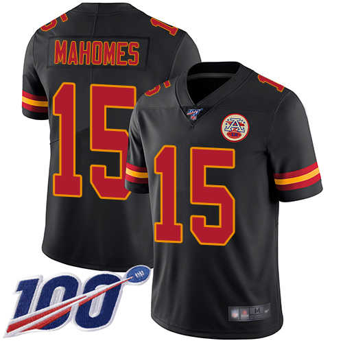 Nike Chiefs #15 Patrick Mahomes Black Youth Stitched NFL Limited Rush 100th Season Jersey