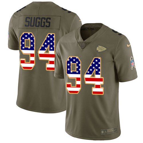 Nike Chiefs #94 Terrell Suggs Olive/USA Flag Youth Stitched NFL Limited 2017 Salute To Service Jersey