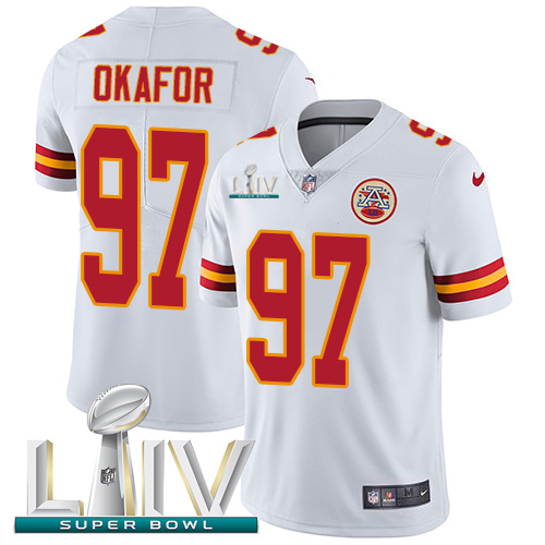 Nike Chiefs #97 Alex Okafor White Super Bowl LIV 2020 Youth Stitched NFL Vapor Untouchable Limited Jersey