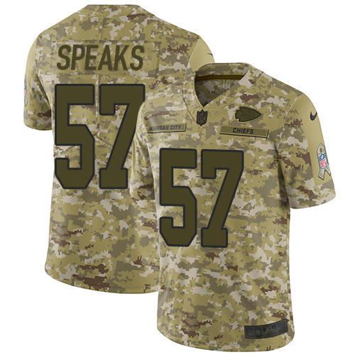 Nike Chiefs #57 Breeland Speaks Camo Youth Stitched NFL Limited 2018 Salute to Service Jersey