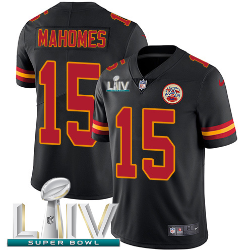 Nike Chiefs #15 Patrick Mahomes Black Super Bowl LIV 2020 Youth Stitched NFL Limited Rush Jersey