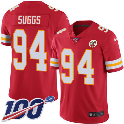 Nike Chiefs #94 Terrell Suggs Red Team Color Youth Stitched NFL 100th Season Vapor Untouchable Limited Jersey