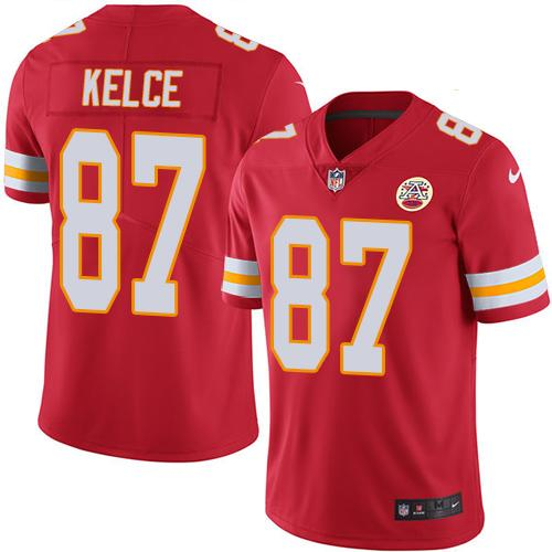 Nike Chiefs #87 Travis Kelce Red Team Color Youth Stitched NFL Vapor Untouchable Limited Jersey
