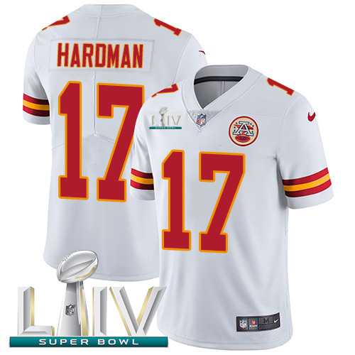 Nike Chiefs #17 Mecole Hardman White Super Bowl LIV 2020 Youth Stitched NFL Vapor Untouchable Limited Jersey