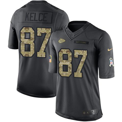 Nike Chiefs #87 Travis Kelce Black Youth Stitched NFL Limited 2016 Salute to Service Jersey
