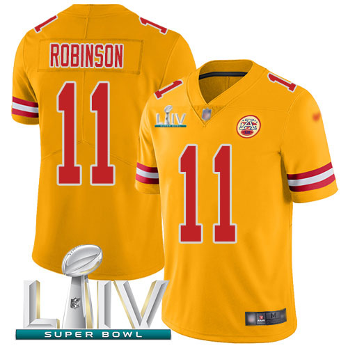Nike Chiefs #11 Demarcus Robinson Gold Super Bowl LIV 2020 Youth Stitched NFL Limited Inverted Legend Jersey