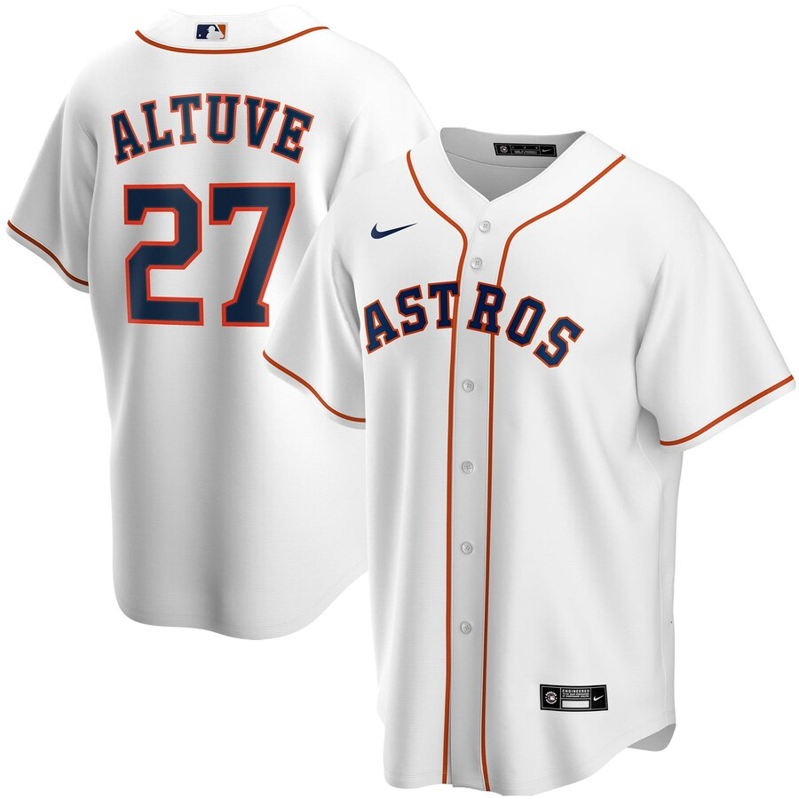 Men's Houston Astros Jose Altuve Nike White Home 2020 Replica Player Jersey