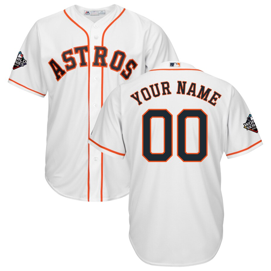 Men's Houston Astros White 2019 World Series Bound Official Cool Base Custom Jersey