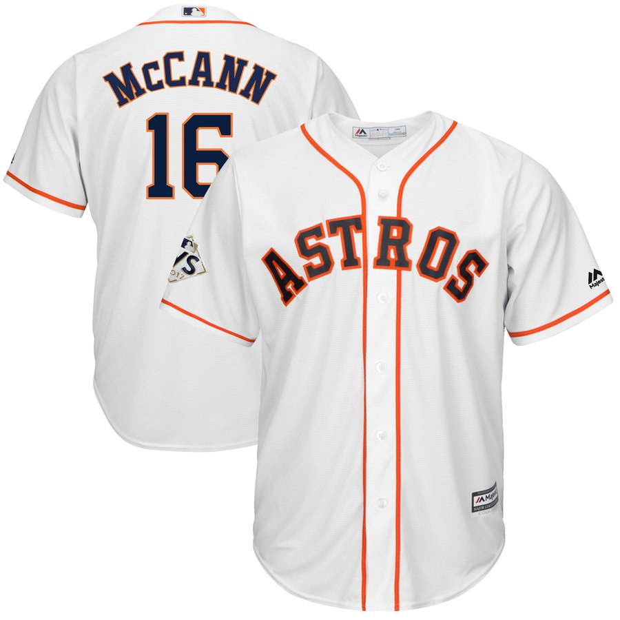 Men's Houston Astros Brian McCann White 2017 World Series Bound Cool Base Player Jersey