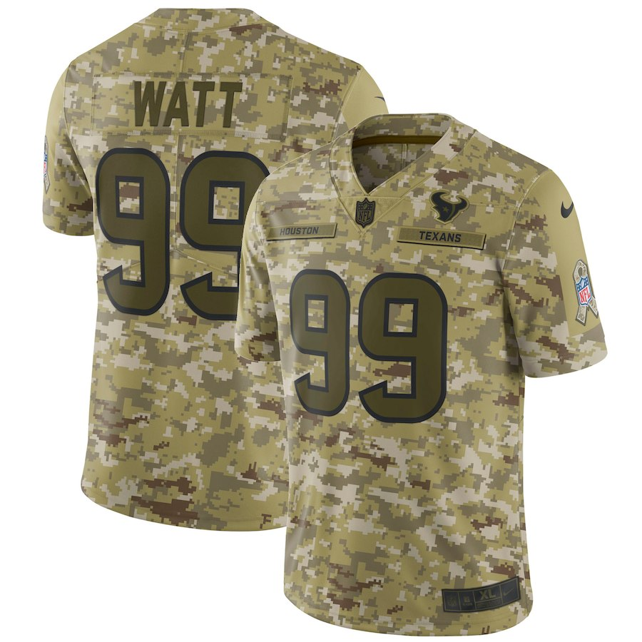Men's Texans #99 J.J. Watt 2018 Camo Salute To Service Limited Stitched NFL Jersey