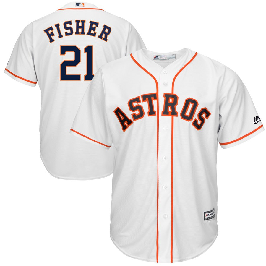 Men's Houston Astros Derek Fisher White Home Cool Base Player Jersey