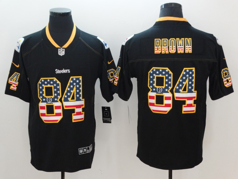 Mens Steelers #84 Antonio Brown Black USA Flag Color Rush Limited Fashion NFL Stitched Jersey