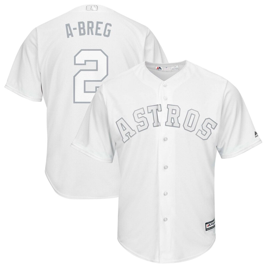"Men's Houston Astros Alex Bregman ""A-Breg"" White 2019 Players' Weekend Player Jersey"